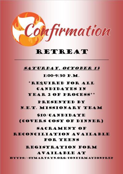 Confirmation Retreat Announcement